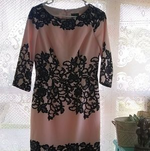 Gorgeous Pale Pink with Black Lace Design Size 6